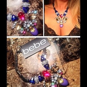 Bebe colorful chunky stone statement necklace