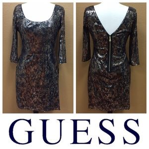 GUESS Sequin Animal Print Dress