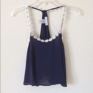 Tops - Navy Daisy Tank (NEW)