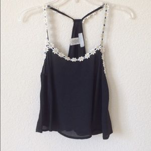 Tops - Black Daisy Tank (NEW)
