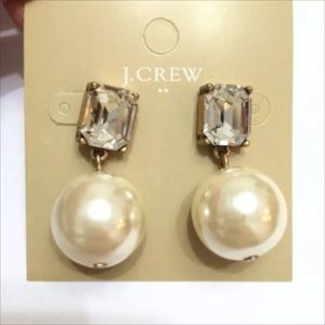 stunning J. Crew Crystal and Pearl Dangle Earrings