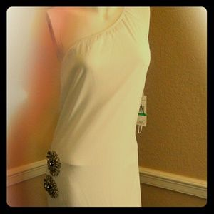 ABS long white dress