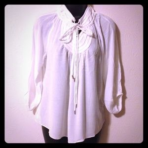 Tops - 🆕White Double Drawstring Peasant Blouse
