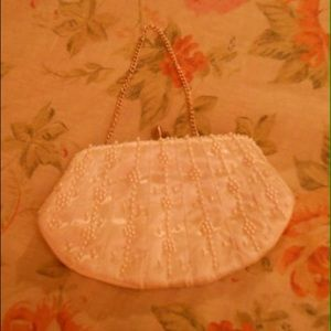 Vintage White Satin Handbag with Pearls & Beads