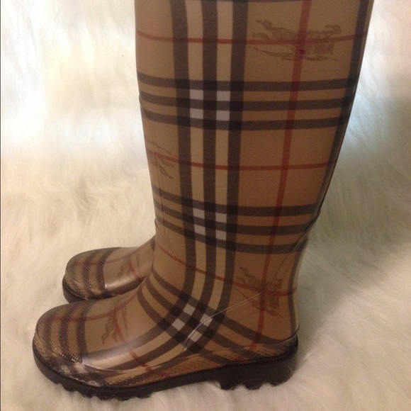 63% off Burberry Boots - Burberry Haymarket Check Plaid Rain Boot ...
