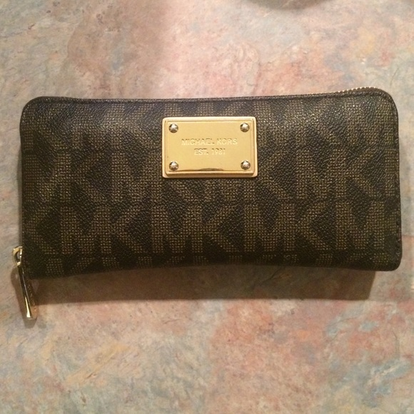 mk brown wallet