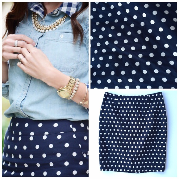75% off No tag Dresses & Skirts - Navy Polka Dot Pencil Skirt from ...