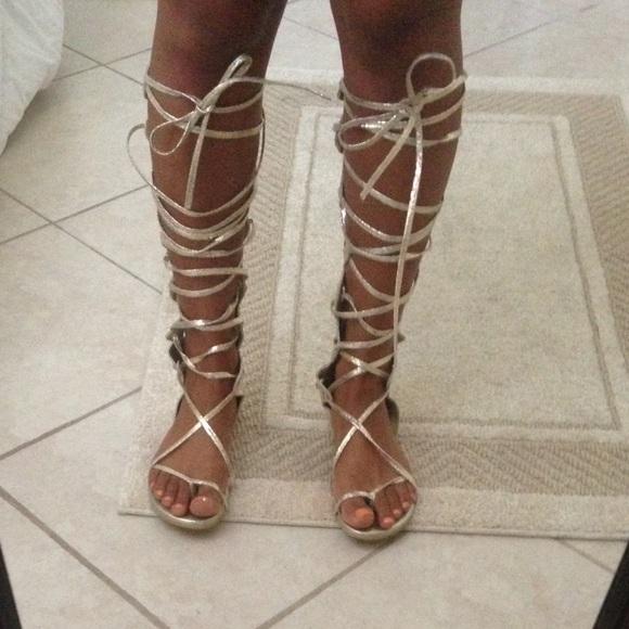 Glator Shoes - Gold Metallic Lace Up Gladiator Sandals