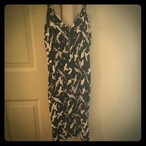 Little black strap dress/cross printed