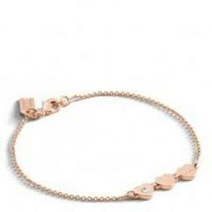 Coach Rose Gold Station Heart Bracelet
