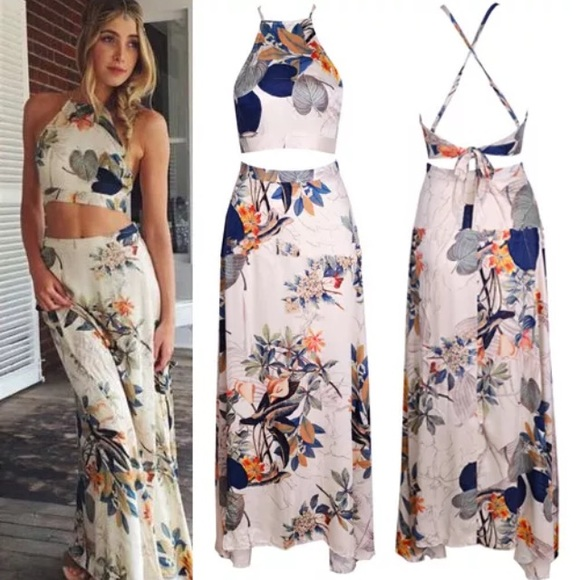 Boho Crop Top Dress Crop Top Maxi Skirt Boho