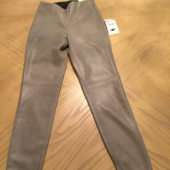73705dea Zara Pants | Faux Leather Leggings With Seam At The Knee | Poshmark