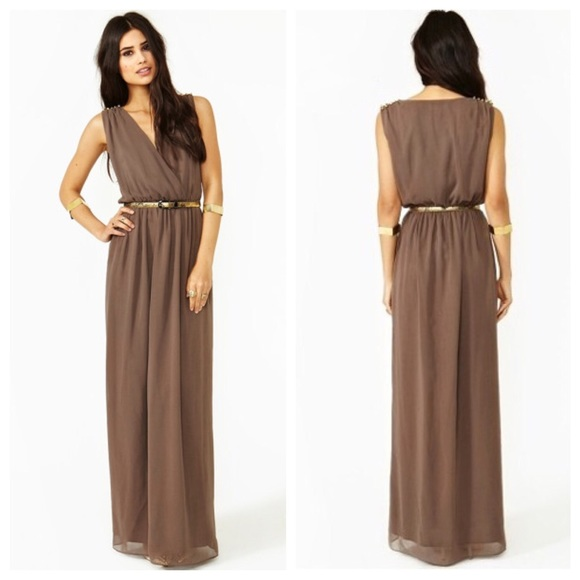 35% off Nasty Gal Dresses & Skirts - Mocha Brown Chiffon with Gold ...