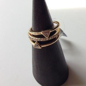 Trio Gold & CZ Stacking Rings