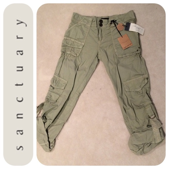 83% off Sanctuary Pants - NEW Sanctuary Light Army Green Twill ...