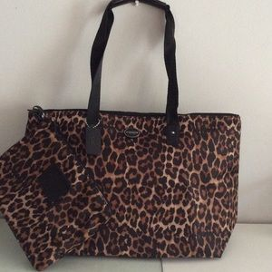 NWTCOACH Leopard Print Nylon Packable Weekender