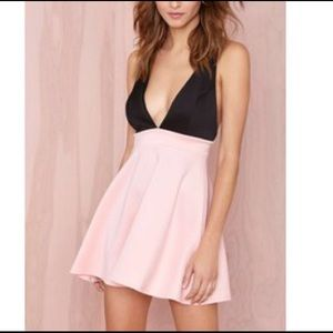 Nasty Gal Pink and Black Halter Deep V Dress