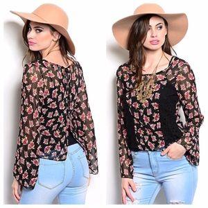 Black lace panel floral pattern split back blouse
