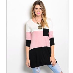 Color blocked dusty rose white and black top