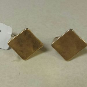 2 Jcrew diamond shaped gold tone rings size 6