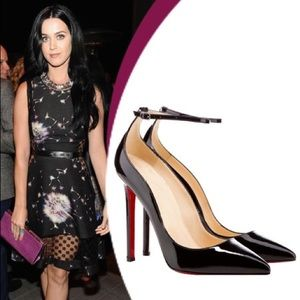 76% off JoJo Cat Shoes - Red bottom black ankle strap pumps heels ...
