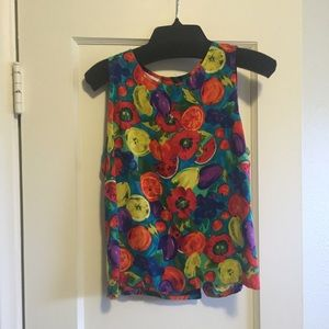 Vintage summery fruit print top. Size M