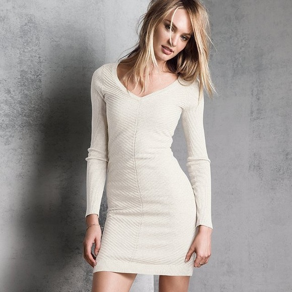 Victoria's Secret - VS Kiss Of Cashmere V-Neck Ribbed Sweaterdress ...