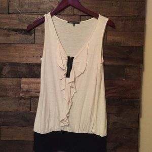 Tops - Tan/ black tank top.