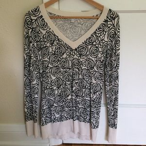 GAP Sweater with Rose Pattern