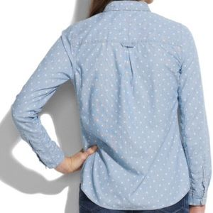 Madewell polka dot chambray shirt sz small