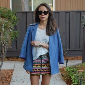 H&M Aztec graphic zip-up mini skirt