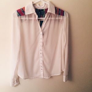 Fun & Flirty Tops - White Blouse with Embroidered Aztec Detailing