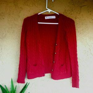 Deep red Zara knit cardigan