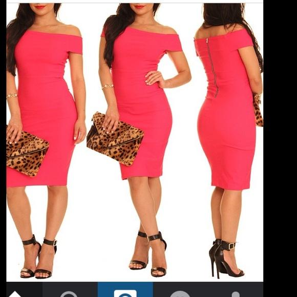 454609fcfe51 Hot pink off the shoulder midi dress