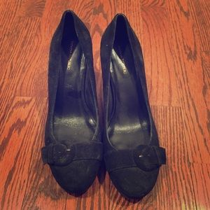 Super comfy black suede banana republic wedges