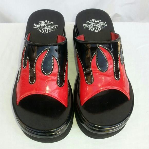 Harley Davidson Black And Red Flame Sandals 7