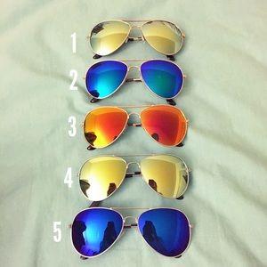 Accessories - #1 Green/Yellow Lens Gold Frame Aviator Sunglasses