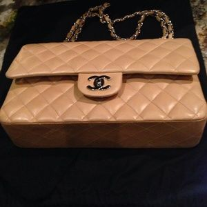 Auth 100% Chanel double flap lamb skin