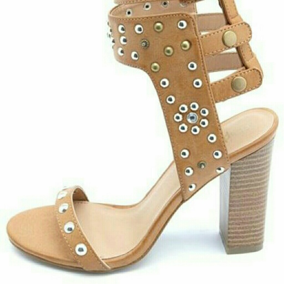 special section aliexpress affordable price STUDDED STRAPPY STACKED HEEL SANDAL NWT