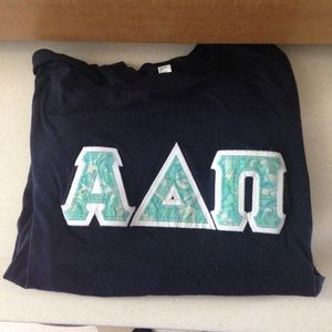 Alpha Delta Pi Navy Stitch Letters- Lilly Pulitzer