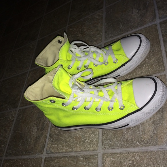 812810f96239 Converse Shoes - hi-top bright neon yellow converse PRICE FIRM!