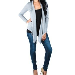 Gray draped cardigan