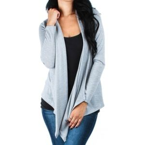pink berry boutique Tops - Gray draped cardigan