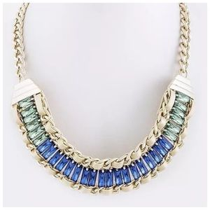 Custom Jewelry - D16 Blue Green Crystal Leather Braided Necklace