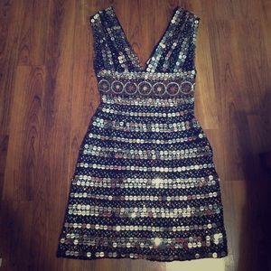 Scala Full Sequin Deep V Dress