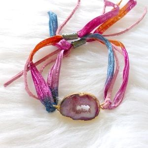 Jewelry - =Agate Druzy slice leather/ribbon wrap bracelet=