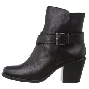 BCGB Black Leather Buckled Booties