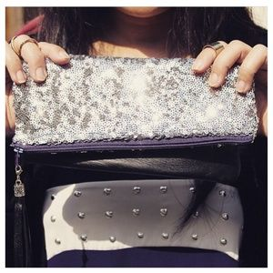 Genuine Black Lambskin + Silver Sequins Clutch
