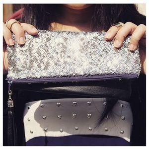 Handbags - Lambskin & Sequin Clutch