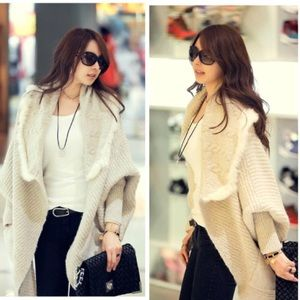 Korean style rabbit fur open front knitted sweater